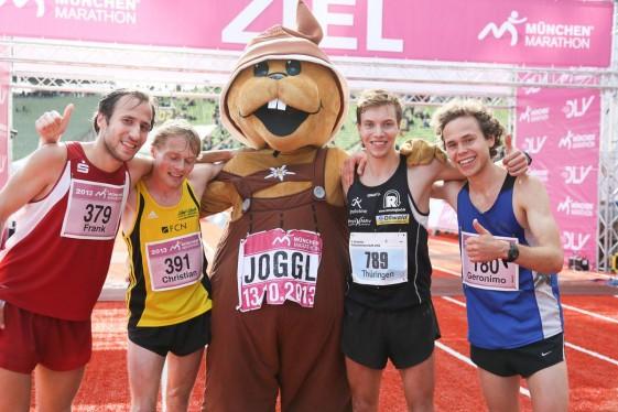 Die vier Erstplatzierten der Marathonentscheidung der Männer (v.l.n.r.): Frank Schauer (1.), Christian König (3.), Marcel Bräutigam (2.) und Geronimo von Wartburg (4.)