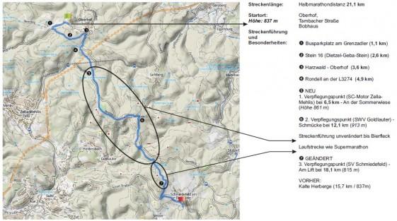 Gesamtstreckenführung Halbmarathon