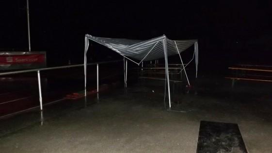 Regen- und Sturmschäden führten in der Nacht fast zum Abbruch des Staffellaufs.