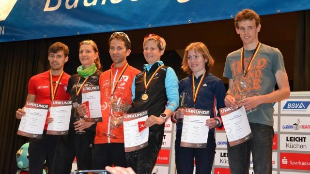 Die Erstplatzierten der Berglauf-DM Männer und Frauen. Links die Thüringer Medaillengewinner Stefan Hubert und Nicole Kruhme.
