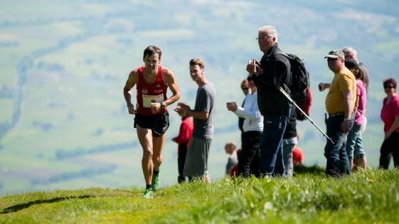 Stefan Hubert beim Gamperney-Berglauf am Schlussanstieg, Foto: Günther Büchel