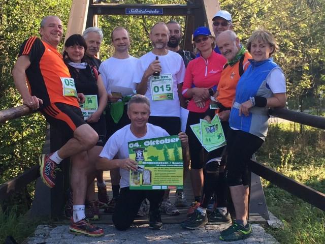 Die Teilnehmer des 4. Gesamtdeutschen Rennsteiglaufes im Ziel