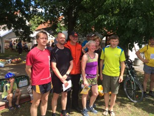 Siegerehrung des 20-Kilometer-Laufes