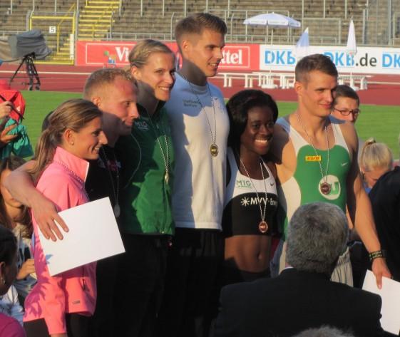 Siegerehrung 100m mit Julian Reus