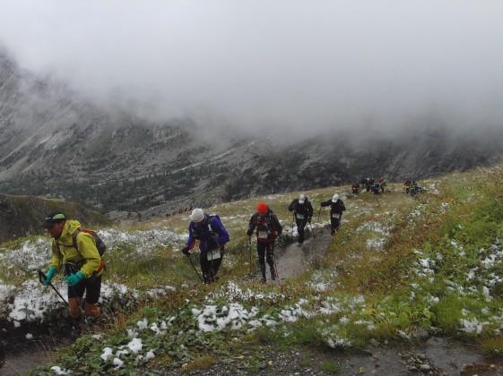 Beim Aufstieg zum Grand Col Follet empfing die Läufer der Winter