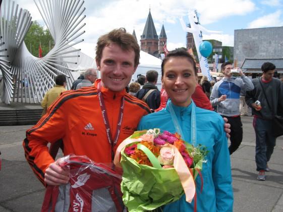 Marcel Knape und Kristin Hempel freuen sich über eine gelungene Generalprobe für den Rennsteiglauf
