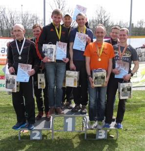 Die drei besten Teams: GMRLV, USV Erfurt und LAC Rudolstadt (v.l.n.r.)