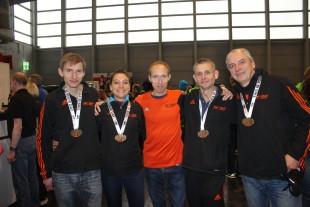 Das erfolgreiche USV-Laufteam mit Adrian Panse, Kristin Hempel, Thomas Hegenbart, Frank Becker und Präsident Jens Panse (v.l.n.r./ Foto: A.L. Panse)