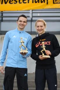 Die Sieger der 11-km-Strecke: Theodor Popp und Nora Kusterer