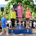 Siegerehrung der Frauen - Anke Härtl (TV 1848 Coburg) Siegerin außer Konkurrenz - 2. Bettina Tschernig (SV 1899 Mühlhausen) Thüringer Berglaufmeisterin 2009