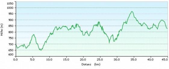 Höhenprofil des Thüringer Skimarathons